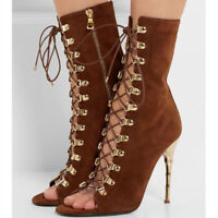 Women Peep Toe Suede Hollow Out Lace Up Strap Stilettos High Heel Shoes Party