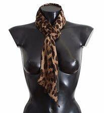 NEW $400 DOLCE & GABBANA Scarf Brown Leopard Print Wool Wrap Necktie 150cm X16cm