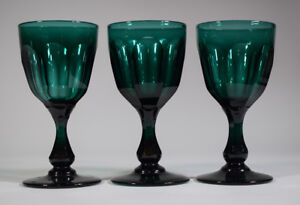 3 Antique English Teal Wine Glasses