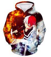 My Hero Academia Hoodies Todoroki Shouto Pullover Sweatshirts Hooded Jacket Coat