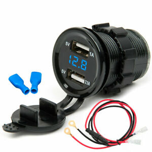 2.1A Dual USB Waterproof Car Motorcycle Power Adapter Charger Plug Socket Outlet