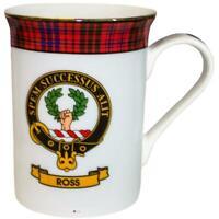 China Tea Mug Ross Clan Crest Fine Bone Gold Rim Made in Scotland