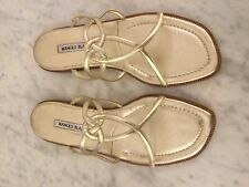 MANOLO BLAHNIK Gold Leather Strappy Sandal. Women's Size 40 M. Italy.