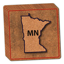Minnesota MN State Outline on Faded Blue Thin Cork Coaster Set of 4