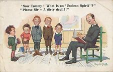 POSTCARD  COMIC   Donald McGill  Now Tommy !  What is an....