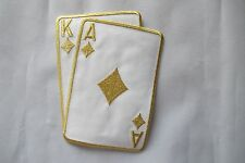 "2265LB 5-1/2"" Gold Poker Card Ace King Of Diamond Suit Embroidery Applique Patch"