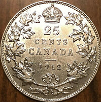 1912 CANADA SILVER 25 CENTS QUARTER COIN - Uncirculated details (cleaned)