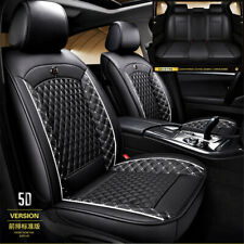 Full Surrounded PU Leather Seat Covers Front Back Seat Black White For Car Truck
