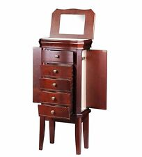 New High Quality Diplomat Cherry Wood Jewelry Armoire Chest w/ Charging Station