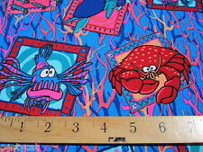 Lobster and turtle print knit cotton tee shirt fabric for clothing and crafts