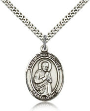 """Saint Isaac Jogues Medal For Men - .925 Sterling Silver Necklace On 24"""" Chain..."""