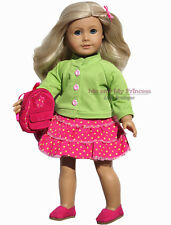 Lime Jacket + Dot Corduroy Skirt +BP+Shoes clothes for American Girl Doll Only
