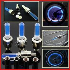 4 pieces Blue LED Light Valve Stem Caps Cover Motorcycle Bike Car Wheel Tyre ET
