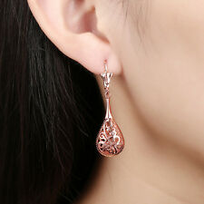 women 18K Rose Gold plated hollow water drop dangle studs earrings jewelry gift