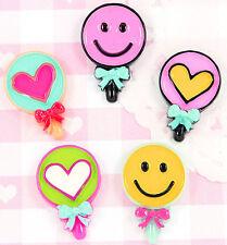 5 x Colourful LOLLIPOP Flat Back Embellishments Cabochons Decoden Kawaii Decoden