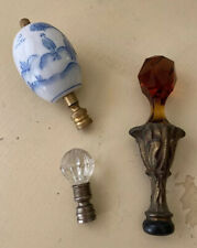 Lot Of 3 Assorted Antique Vintage Light Table Lamp Finials Porcelain Glass