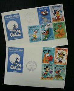 [SJ] Turks & Caicos Islands Walt Disney 1979 Mickey Cartoon Animation (FDC pair