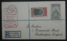 1951 Dominica West Indies University College Registered FDC ties 2 stamps