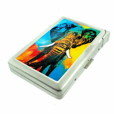 Elephant Art D20 Cigarette Case with Built in Lighter Metal Wallet