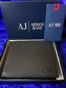 Armani Jeans Men's Black Leather Wallet, Bi-Fold, With Coin pocket