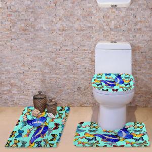 Butterfly Pattern Toilet Covers 3pcs Set Bathmat Pedestal Rug Lid Toilet Cover
