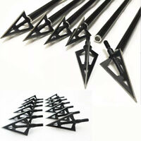 New 6 Pcs Broadhead Archery Shooting Screw tip 3 Blade Hunting Black