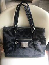 COACH Poppy Glam Tote Shoulder Handbag Satchel Black Signature C - EUC