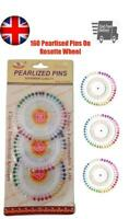Pearlized Bead Pins Rosette Hijab Craft Dress Maker Sewing Scarf Needlework Head