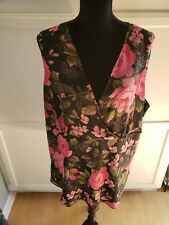 Women's Notations Woman Lined Black Rose Floral V-neck Top Size 2X