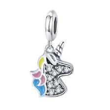 NEW Unicorn Horse Crystal Silver European Charm Bracelet Pendant Kids Jewelry