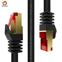 Duronic Black 1m CAT6a FTP Professional Gold Headed Shielded Network Cable New
