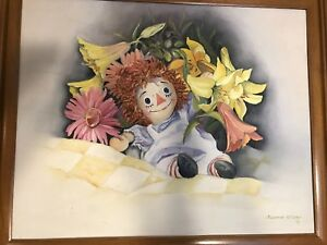 """Vtg Raggedy Ann Floral & Quilt Canvas Painting Suzanne Peters 22 1/2"""" X 19"""""""