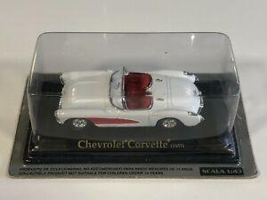 ATLAS FABBRI YATMING Chevrolet Corvette Blanc/Rouge 1957 1/43 Voiture Miniature
