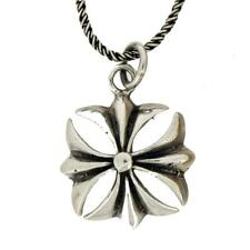 """Gothic Iron Cross Sterling Silver Pendant w/ 18"""" Rope Chain Punk Rock"""