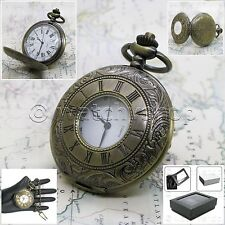Antique Brass Pocket Watch 48 MM Hollow Cover Men Gift - Fob Chain + Box P141