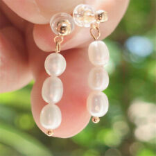 Natural Pearl gold Earrings eardrop 18K Chain girl Gift Dangle Christmas
