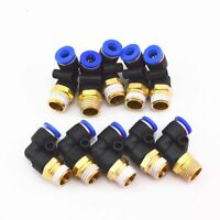 10Pcs 6mm To 1/4''  Elbow Male Air Pneumatic Quick Pipe Connectors Fitting