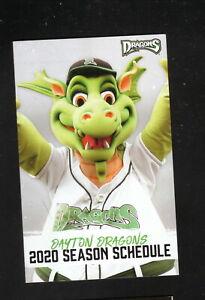 Dayton Dragons--2020 Pocket Schedule--Reds Affiliate