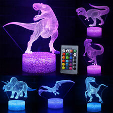 3D Dinosaur LED Night Light Visual Illusion Lamp 7 Colouring Touch Kids Bedroom