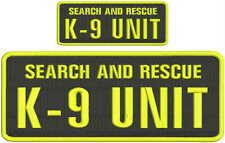Search and Rescue K9 UNIT embroidery patches 4x10 and 2x5 hook yellow black