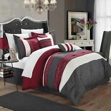 Carlton Burgundy Grey & Off White King 6 Piece Comforter Bed In A Bag Set