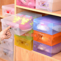 20 Pcs Foldable Clear Plastic Storage Shoe Organizer Boxes Stackable Tidy BOX