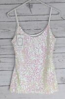 White Sequin Tank Top Blouse Iridescent Camisole Shirt Bling Shimmer NEW