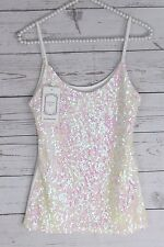 Women's White Sequin Tank Top Blouse Iridescent Camisole Bling