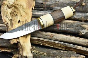 Custom Handmade 1095 High Carbon Steel Outdoor Bushcraft Puukko Knife w/ sheath