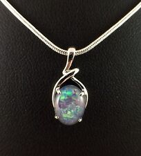 Genuine Opal Triplet Necklace Pendant W Cert Chain Twice 18ct White Gold Plated