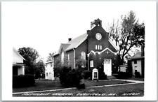 "SHEFFIELD, Illinois RPPC Photo Postcard ""METHODIST CHURCH"" Street View c1950s"