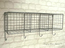 Vintage Industrial Style Metal Wall Shelf Unit Rack Coat Hooks Storage Display