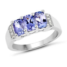 1.63 ct Genuine Tanzanite & Accents 925 Sterling Silver Wedding Engagement Ring