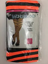 Wonderland Girls Tights Footed Orange Black Halloween Costume Striped Size 4 - 6